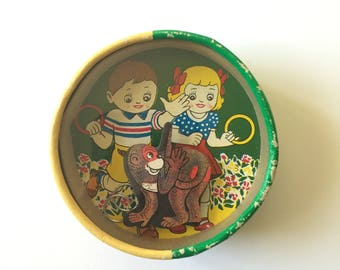 Dexterity Games vintage.Monkey ring toss/Queen,rabbit ball game.1950s.Japan.Double sided
