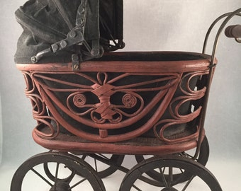 REDUCED - Vintage Wicker Baby Doll Carriage, Metal and Woods Wheels, Cloth Expandable Cover, Metal and Wood Handle