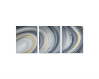Abstract Canvas Art - large canvas art, 3 piece canvas art, ORIGINAL art painting, abstract wall art, gray and gold art, abstract painting