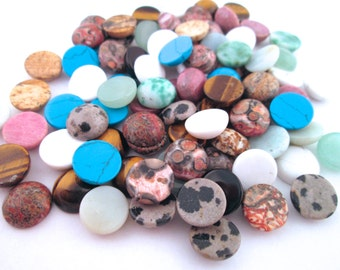 2 10mm Assorted Gemstone Cabochons #968B