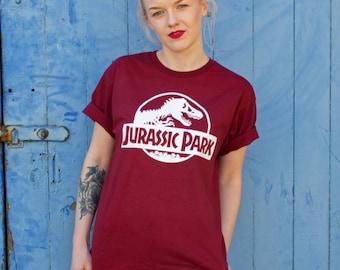 Vintage Style Jurassic Park Burgundy T-Shirt