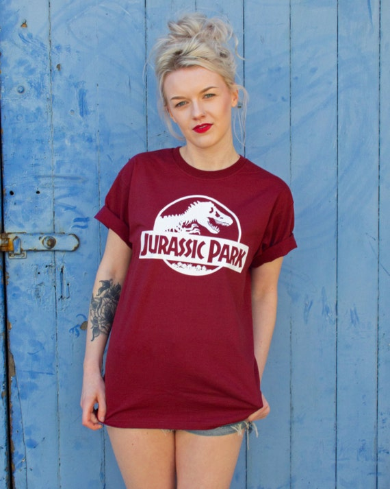 Jurassic Park Ladies Burgundy T-shirt
