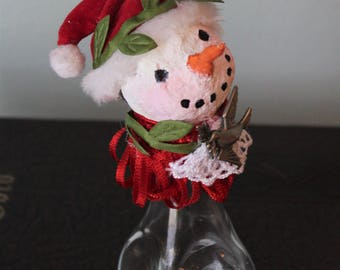 Serena Snow: salt shaker snowman, snow person with paper mache head and dove at neck, Christmas ornament, holiday decoration