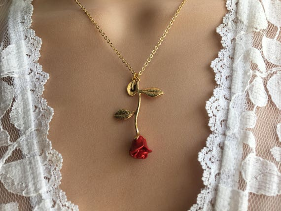 Original Beauty And The Beast Rose Necklace Silver Rose