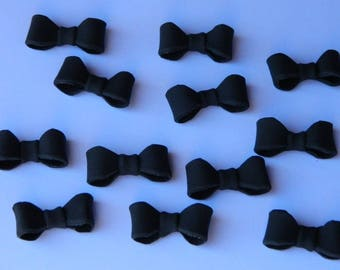 12 edible small BOW TIE TUXEDO groom man cake cupcake toppers decorations party wedding gay anniversary birthday bows christening