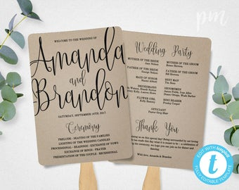 Wedding templates etsy nz wedding program fan template calligraphy script printable program instant download diy ceremony program solutioingenieria Image collections