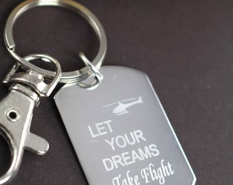 Let Your Dreams Take Flight Personalized Custom Engraved Christmas Gift Key Ring Graduation Gift