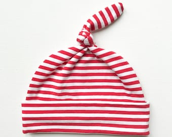 organic knottie baby hat | candy cane stripe