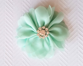 "Mint Chiffon Flowers. 3"" Chiffon Flowers with Glass Rhinestone Center. QTY: 1 Flower  ~Brea Collection"