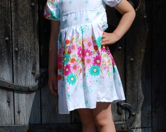 Girls daisy summer dress, flower print gathered skirt, cotton fabric, short sleeves, buttons at the back, first birthday, special occasion