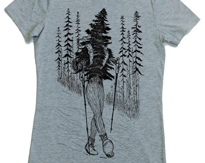 Hiking T Shirt Women - Hiker Shirt - Forest Tshirt - Tshirt with Trees - Adventure Shirt - Walking Tshirt - Exercise Tee - Womens Tee Shirts