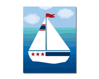 S A L E - Sailboat 3 - 8x10 Children's Art Print - Nautical Ocean Beach Theme