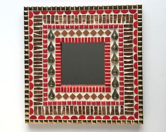 Red Mosaic Mirror, 10x10 decorative mirror, small wall mirror in red and gold