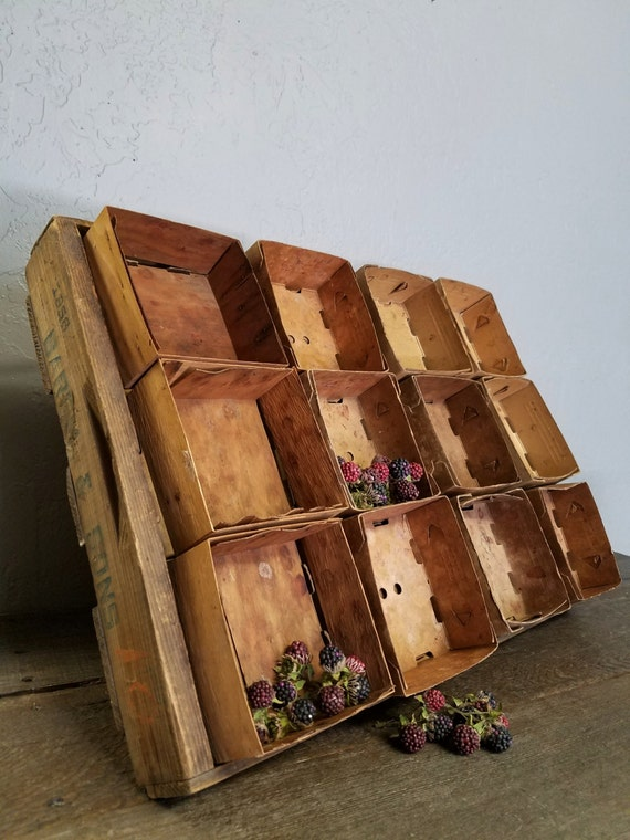 "Primitive Wood Berry Crate Carrier Dual Crate With 24 Stack-able Berry Box Containers-""Ships International"" Email For Rates"