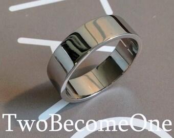 6mm Mens 9ct White Gold Flat Shape Handmade Wedding Ring / Band / 7.6g