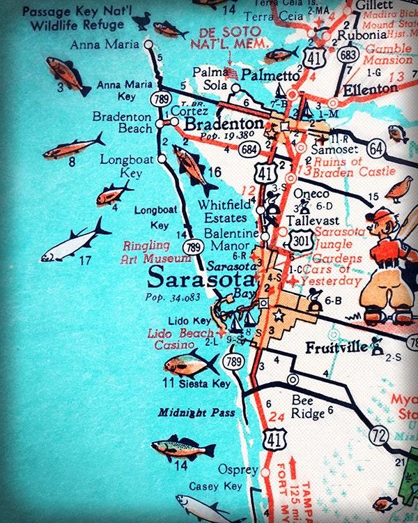 Sarasota Bradenton Retro Beach Map Print Funky Vintage - Map of west coast of florida
