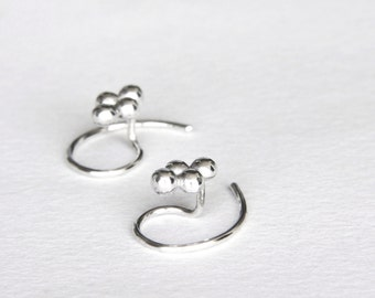 Fine & Sterling Silver Tiny Stud Earrings, Tiny Silver Dots Stud Earrings, Tiny Earrings, Tiny Silver Earring, Tiny Silver Studs, Small Post
