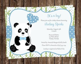 Baby shower card panda baby shower congrats on your new panda baby shower invitations baby panda little bear panda bear baby sprinkle chevron blue 10 printed invites free shipping filmwisefo