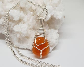Wire Wrapped CARNELIAN Crystal Necklace OOAK Positive Healing Stone Bohemian Jewelry The Stone Fairy Energy Boho Magic Wicca Pagan CN105-3