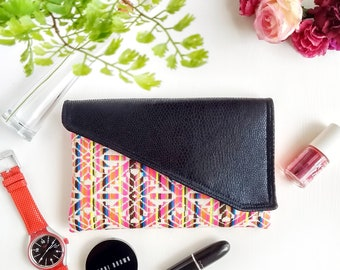 Boho Clutch Bag, Faux Leather Clutch Purse, Bridesmaid Gift for Her, Bridal Party Envelope Clutch Bag, Evening Bag Gift for Women, Mexican