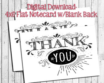 Black & White Victorian THANK YOU Note CARDS, Digital Printable, Instant Download