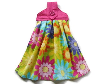 Hanging Floral Kitchen Towel - Fabric Top Kitchen Towel - Bright Flowers Button Top Hanging Towel - Summer Flowers Tab Top Towel