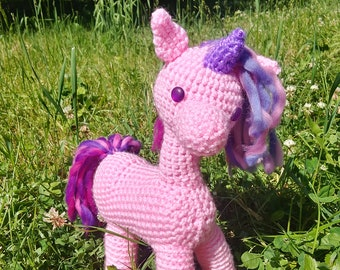 Cotton-candy unicorn crochet plushie