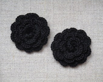 "set of 2 black flowers crocheted ""pink style"""