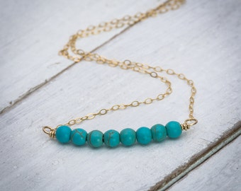 Turquoise necklace, dainty necklace, turquoise  bar necklace, turquoise gemstone necklace, gold bar necklace, simple necklace, gift under 50