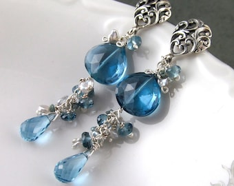 Fabulous London blue topaz earrings, handmade sterling silver, saltwater keishi pearl, and teal diamond earrings-OOAK