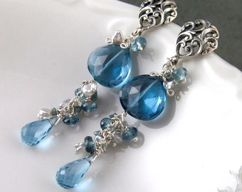 Fabulous London blue topaz earrings, handmade sterling silver, saltwater keishi pearl, and teal diamond earrings-OOAK