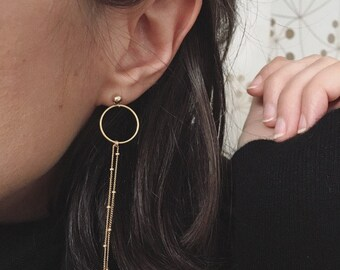 EILAT Circle Drop Earrings | Gold Dangle Drop Earrings | Minimal jewelry | Dainty Gold Circle Earrings | Hoop Earrings | Modern Hoop