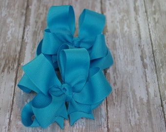 "Girls Hair Bows Turquoise Boutique 3"" Double Layer Hairbows Set of 2 Pigtail Bows"