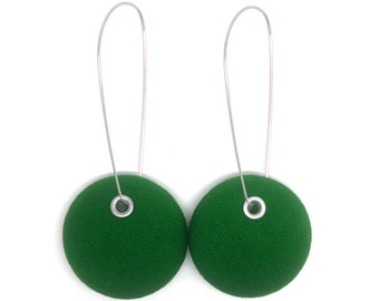 Dark Grass Green Fabric Covered Button Drop Earrings - Surgical Steel Wires - Free Worldwide Shipping