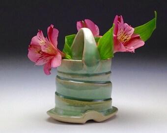 Small bud vase/ little ceramic vase/ handmade clay vase/ stoneware pottery/ aqua green crystal glaze/ Cayce Kolstad Asheville NC Artist