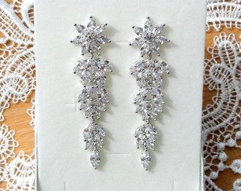 Bridal Earrings Crystal Wedding Earrings Bridal Jewelry Dangle Earrings Wedding Jewelry Drop Earrings Leaf earrings Long Silver earrings
