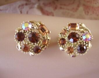 Vintage Lisner Clip Back Rhinestone Earrings