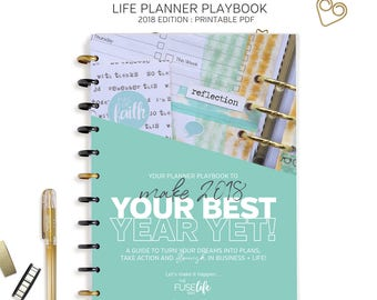 LIFE PLANNER Playbook : 2018 Edition > A4 + Letter size, printable PDF pages > turn your goals into plans