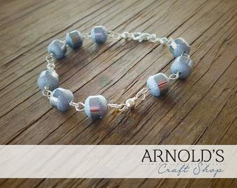 Silver Cube Beaded Chain Bracelet