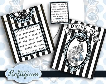 druckbare  Teebeutel Kuvert digitale Datei  Alice im Wunderland Drink Me  INSTANT DOWNLOAD digitale datei