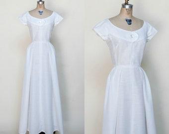 1950s Wedding Dress --- Vintage White Short Sleeved Dress