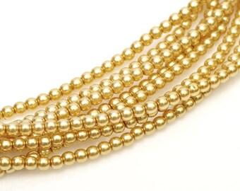 3mm Elegant Light Gold Glass Pearls 50 pcs
