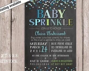 Sprinkle Shower Invitation, Baby Boy Sprinkle Shower, Sprinkle invitation, Baby Boy Shower, Chalkboard baby shower, DIY printable,
