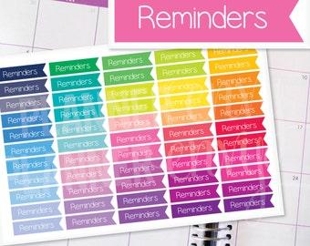 Reminders Planner Stickers Erin Condren Life Planner (Eclp) - 55 Reminders Flag Header Stickers (#7012)
