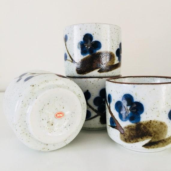 Vintage Ceramic Tea Cups Blue Floral Japanese Stoneware Set of (4) Sake Cups