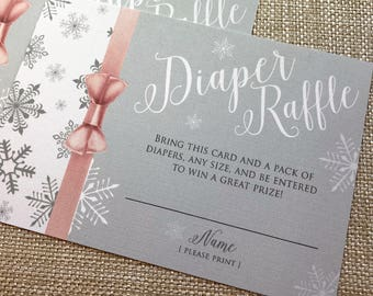 Baby Its Cold Outside Shower, Snowflake Baby Shower Diaper Raffle, Winter Shower Diaper Raffle, Little Snowflake On the Way, Diaper Raffle