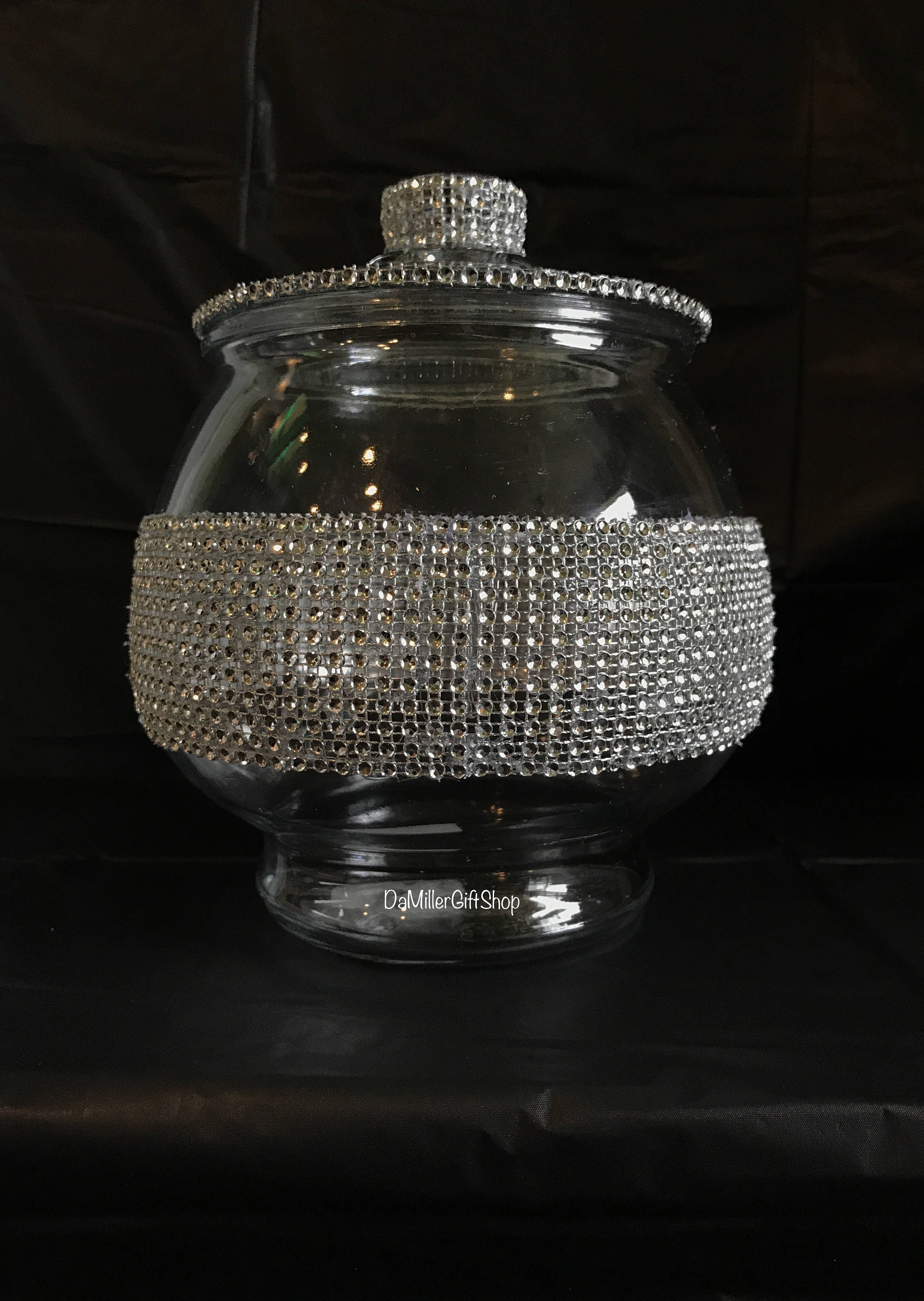 1 2 gallon clear rhinestone glass candy jar with lid. Black Bedroom Furniture Sets. Home Design Ideas