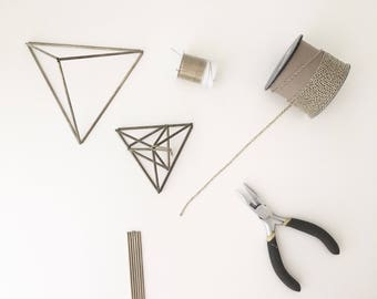 DIY Kit & Pattern: Geometric Tetrahedron Himmeli - Triangular Pyramid - Coffee Table Decor - Minimalist Brass Dome - Airplant Mobile