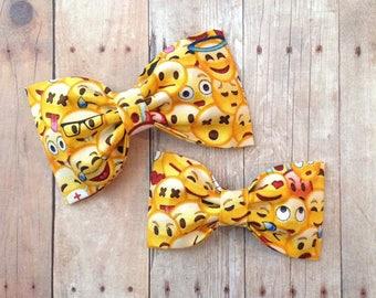 Emoji yellow hair bow hair bows baby headband summer preppy rockabilly