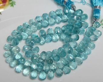"5"" Strand - Sparkling Transparent High Quality Natural Aqua Blue APATITE Faceted Teardrop Briolettes"